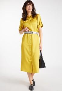 Żółta sukienka Monnari midi z kołnierzykiem w stylu casual