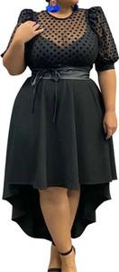 Czarna sukienka Arilook z okrągłym dekoltem midi z krótkim rękawem