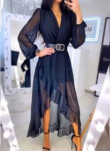 Sukienka Sandbella maxi z długim rękawem asymetryczna