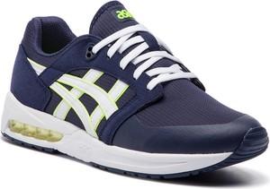 Niebieskie buty sportowe ASICS ze skóry ekologicznej sznurowane