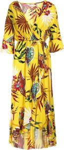 Żółta sukienka Multu dla puszystych