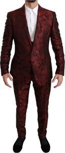 Czerwony garnitur Dolce & Gabbana z wełny