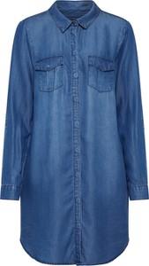 Niebieska sukienka Vero Moda koszulowa z kołnierzykiem z jeansu