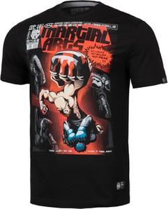 Czarny t-shirt Pit Bull West Coast z krótkim rękawem z nadrukiem w młodzieżowym stylu