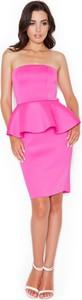Różowa sukienka Katrus baskinka bez rękawów