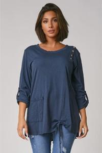 Niebieski t-shirt Plus Size Fashion z bawełny z długim rękawem