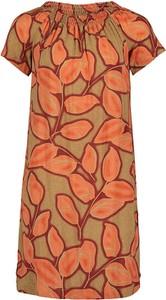 Pomarańczowa sukienka Cartoon z krótkim rękawem w stylu casual z okrągłym dekoltem