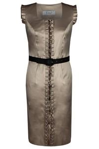 Brązowa sukienka Fokus bez rękawów z dekoltem w karo