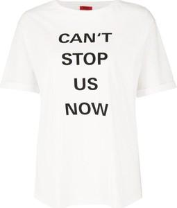 T-shirt Hugo Boss w młodzieżowym stylu z okrągłym dekoltem z krótkim rękawem