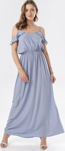 Fioletowa sukienka born2be w stylu casual rozkloszowana
