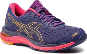 Niebieskie buty sportowe ASICS na koturnie sznurowane z goretexu