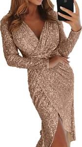 Brązowa sukienka Cikelly z dekoltem w kształcie litery v kopertowa maxi
