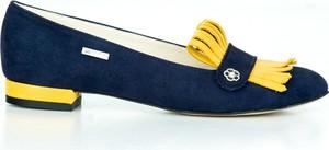 Niebieskie baleriny Zapato z nubuku