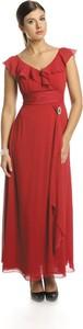 Czerwona sukienka Fokus z krótkim rękawem w stylu boho rozkloszowana
