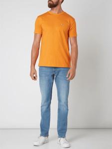 Pomarańczowy t-shirt Tommy Jeans w stylu casual z jeansu z krótkim rękawem
