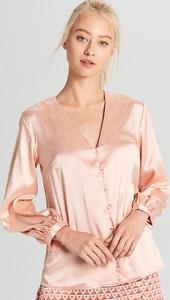 Różowa bluzka Cropp z satyny z okrągłym dekoltem
