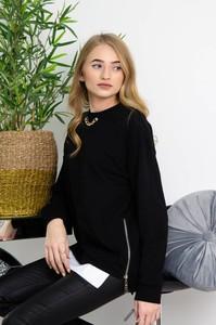 Czarna bluzka Olika z długim rękawem z okrągłym dekoltem w stylu casual