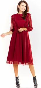 Sukienka Awama z okrągłym dekoltem rozkloszowana z tiulu
