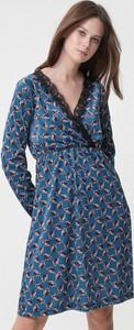 Niebieska sukienka born2be rozkloszowana midi w stylu casual
