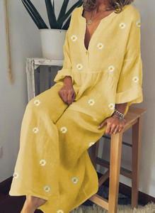 Żółta sukienka Sandbella maxi w stylu boho z długim rękawem