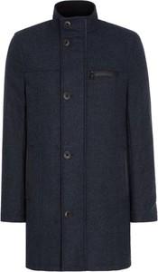 Granatowy płaszcz męski Ochnik z tkaniny