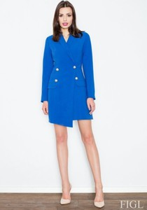 Niebieska sukienka Figl z dzianiny mini