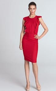 Czerwona sukienka Nife z okrągłym dekoltem