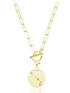 Lian Art Naszyjnik srebrny Margot toggle Zodiac II - 4k złocenie