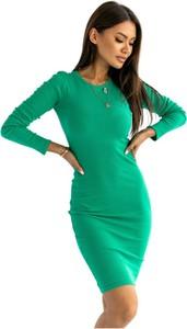 Zielona sukienka Ooh la la z bawełny w sportowym stylu dopasowana