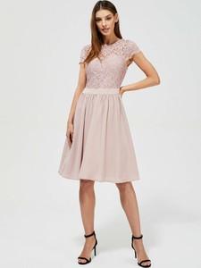 Sukienka Moodo.pl z okrągłym dekoltem z krótkim rękawem mini