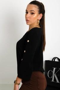 Czarna bluzka Olika z długim rękawem w stylu casual