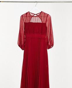 Czerwona sukienka Asos z żakardu z długim rękawem