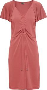 Różowa sukienka bonprix BODYFLIRT z dżerseju z krótkim rękawem w stylu casual