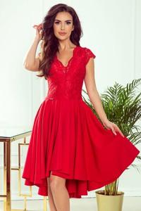 Czerwona sukienka NUMOCO mini z krótkim rękawem z dekoltem w kształcie litery v