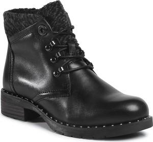 Czarne botki Marco Tozzi z płaską podeszwą w stylu casual sznurowane