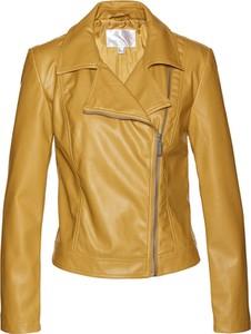 Żółta kurtka bonprix ze skóry ekologicznej krótka