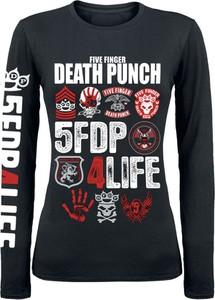 Czarna bluzka Five Finger Death Punch w młodzieżowym stylu z długim rękawem