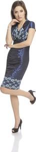 Granatowa sukienka Fokus z krótkim rękawem z dekoltem w kształcie litery v midi