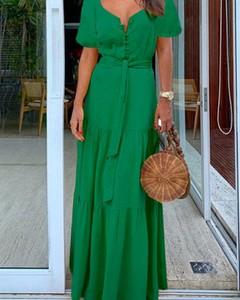 Zielona sukienka Kendallme z krótkim rękawem maxi