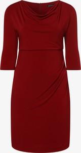Czerwona sukienka Swing Curve z długim rękawem prosta
