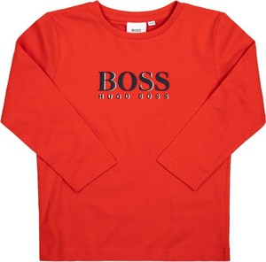 Czerwona bluzka dziecięca Boss z długim rękawem