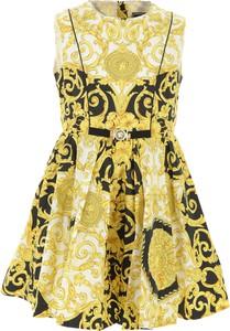 Żółta sukienka dziewczęca Versace z bawełny