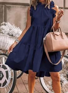 Niebieska sukienka Cikelly mini z okrągłym dekoltem