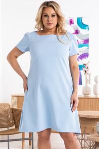 Niebieska sukienka KARKO z krótkim rękawem trapezowa