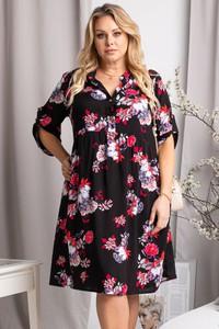 Sukienka KARKO z dekoltem w kształcie litery v w stylu casual dla puszystych