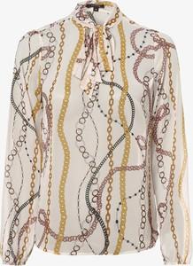 Brązowa bluzka comma, z długim rękawem ze sznurowanym dekoltem