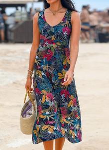 Sukienka Sandbella midi z dekoltem w kształcie litery v
