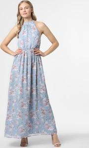 Niebieska sukienka Vila z szyfonu bez rękawów rozkloszowana
