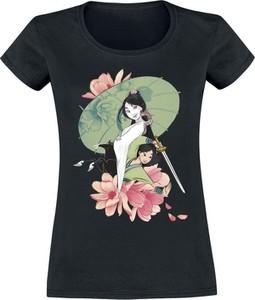 Czarny t-shirt Emp w młodzieżowym stylu z nadrukiem z krótkim rękawem