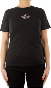 Czarny t-shirt Adidas z okrągłym dekoltem z krótkim rękawem